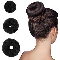 Accesorios de pelo 3pcs, Donut, Negro, para peinado de trenzado