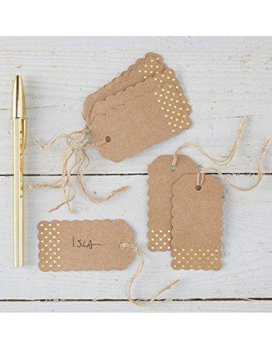 Kraftpapier Geschenkanhänger mit goldenen Punkten - 2