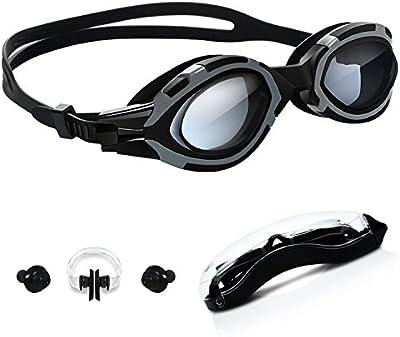 Gafas de Natación, TURATA Gafas- Antiniebla- Herméticas- Protección UV- Ajustables- para Adultos con Pinza en la Nariz y Tapones para Oídos(Negro)