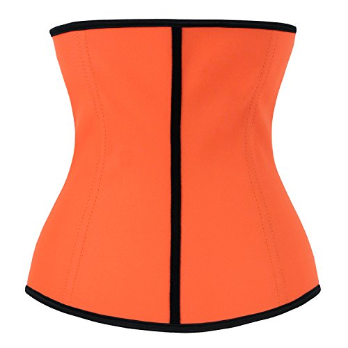 Charmian Women's Latex Waist Training Underbust Corset Weight Loss Body Shaper Orange