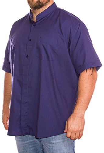 Cotton valley, camicia a maniche corte, a tinta unita, da uomo, taglie forti  black xxxx-large
