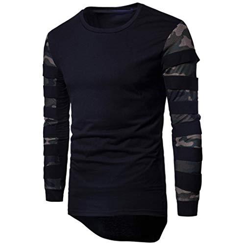 BaZhaHei Herren Langarmshirt Männer Langarm-Multicolor Printed Pullover Sweatshirt Top Tee Outwear...