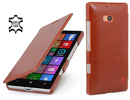 StilGut Book Type Case, Custodia in Vera Pelle Versione Booklet per Nokia Lumia 930, Cognac