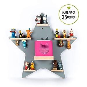 BOARTI Kinder Regal Stern in Grau – für die Toniebox und ca. 35 Tonies – zum Spielen und Sammeln