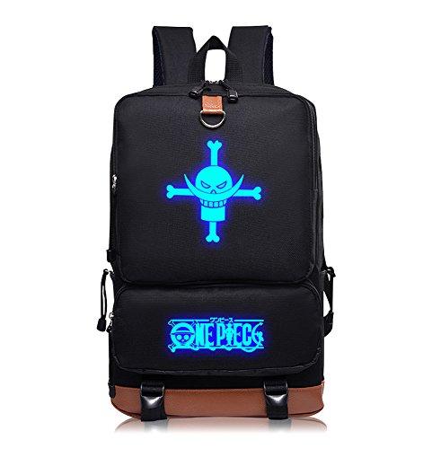 One Piece Muster Rucksack Backpack Schultaschen Schule Tasche Schwarz (Piece Polyester One)