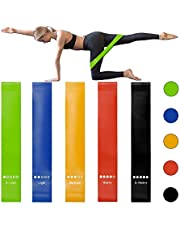 WOTOW Non-Slip Fabric Natural Latex Resistance Loop Exercise Band for Legs and Butt, Wide Workout for Home Fitness, Strength Training, Physical Therapy, Yoga -Set of 5