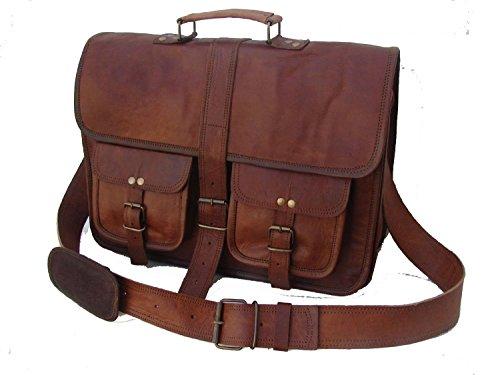 leather bags Vintage Soft Leather Messenger Brown Real Laptop Satchel Bag Genuine Briefcase -