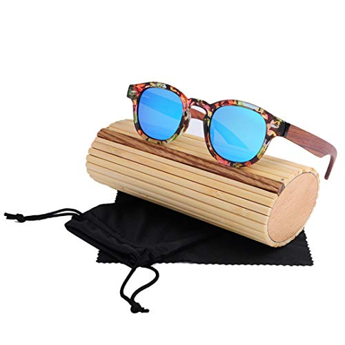 DAIYSNAFDN Handgefertigte Original Runde Bambus Sonnenbrille Frauen Designer Holz Sonnenbrille Polarisierte Männer C5 with Case