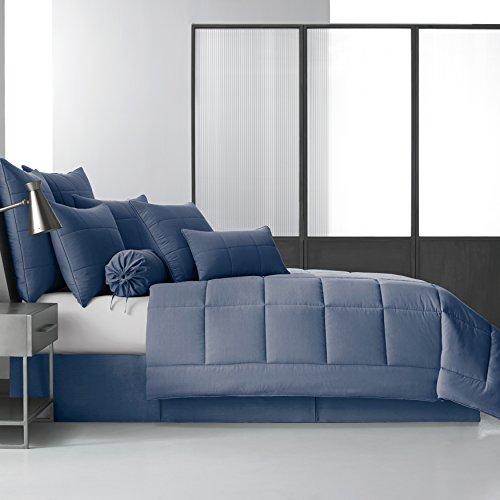 Fünf Queens Court Clayton 100% gebürsteter Baumwolle 4Stück Tröster Set, blau, Queen