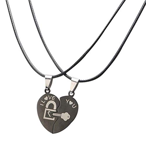 Amosfun Liebe Tastensperre passende Halskette Herzform Paar Halskette Edelstahl Halskette Geschenk für Frauen und Männer (Passende Kostüm Für Freund Und Freundin)