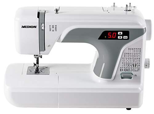 Medion MD 16661 - Máquina de coser digital, ojal automático, 40 vatios, pantalla LED, 50 patrones de puntada diferentes, luz de costura LED, accesorios extensos, color blanco