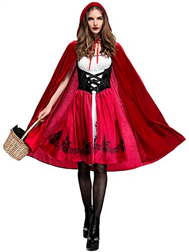 Lecoyeee Halloween Damen Rotkäppchen Kostüm Set Kleid mit Umhang Karneval Kostüm Rotkäppchen Verkleidung Sexy Erwachsene Kostüm für Rollenspiel Party Nachtclub Märchen Faschingskostüm Damen S-XXXL (Gute Kostüm Für Übergröße)