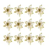 STOBOK 24 Pezzi Ornamenti per Albero di Natale Glitter Fiore Artificiale per la Decorazione dellalbero di Natale