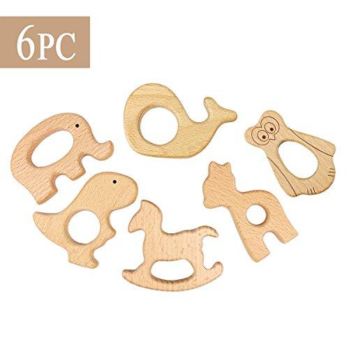 Best for baby 6pc Baby teether Spielzeug DIY Hölzern Elefant Dinosaurier Trojanisches Pferd Alpaka Eule Igel Lebensmittelqualität Duschengeschenk