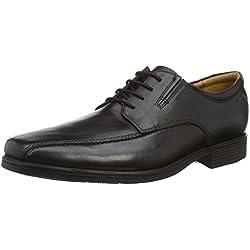 Clarks Tilden Walk, Zapatos de Cuero Para Hombre, Negro (Black Leather)