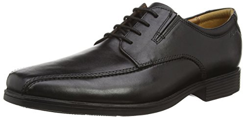 Clarks Tilden Walk, Herren Derby Schnürhalbschuhe, Schwarz (Black Leather), 42.5 EU (8.5 Herren UK)