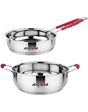 AXIOM FRYPAN (Stainless Steel Induction Base Frying Pan with Silicon Stay Cool Handle)