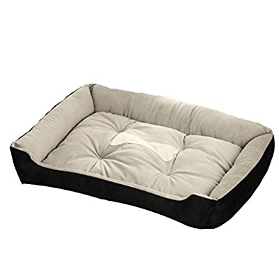 GWM Kennel Dog Mat Cat Nest, Pet Bed Pet Supplies, Teddy Golden Retriever Dog Bed, Warm and Comfortable, Machine Washable?Anti-bite?No Deformation,Anti- Slip, Black by GWM