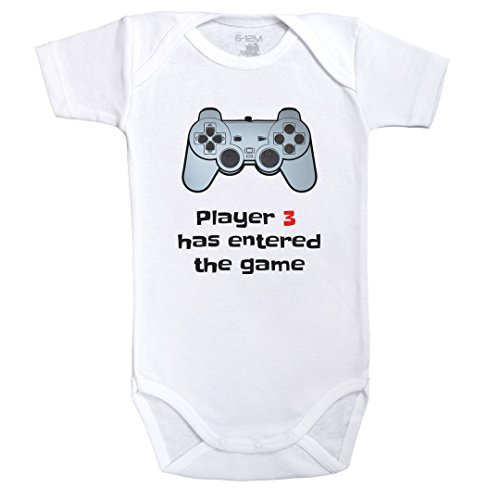 Player 3 has entered the game - Body Bébé manches courtes - Coton - Blanc - Baby Geek - (3 - 6 mois)