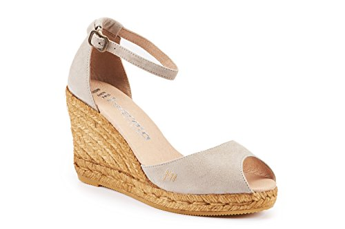 VISCATA Caprubi Elegant Comfort, Soft Suede, Ankle-Strap, Open Toe, Espadrilles with 3-inch Heel Made in Spain Nude