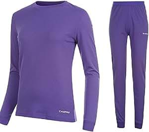 Campri Kit armature de sport pour femme avec couche de Base en haut sous-vêtement thermique Pantalon &moyenne Violet Lot de 12