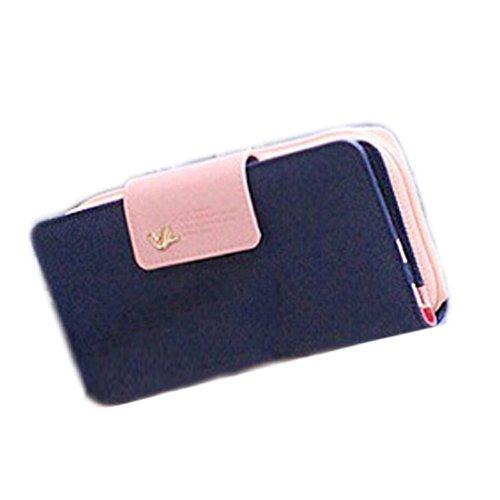 Vovotrade Uccelli frizione Portafoglio in pelle di caso zip lunga Vuitton Carta della borsa (Blu)