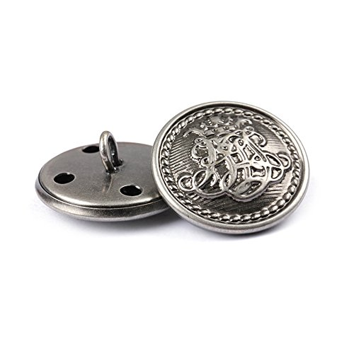 Metallknöpfe für Damen und Herren, Jeansknopf, Design mit Blumenkorb, Handarbeitszubehör, bronzefarben, 12Stück, silber, 25 mm