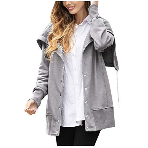 KIMODO Mäntel Jacke Damen Frauen Langarm Fester Knopf Outwear lose warme Winter Sweatshirt Freizeit Cardigan Coat Große Größe (Grau, 2XL) -