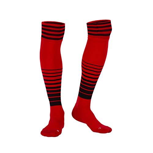 WADUANRUN Erwachsene Baumwolle Lang Fußball Socken für Männer und Frauen Jungen Kniehohe gestreifte Fußballsocken Schulsportsocken5Farben rot -