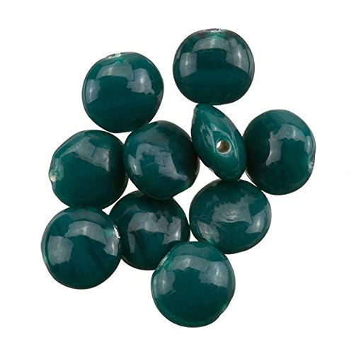 Disco a forma di verde scuro Smartie perle di vetro 12�x 6�mm PK10