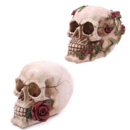 Statua statuina teschio testa di morto decorativa con rose rosse