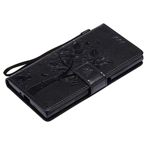 Sony XZ Case, Embossing gepresste Blumen Katze und Baum Muster Solid Color PU-Leder Tasche weichen Silikon-Cover Flip-Stand Geldbörse mit Lanyard für Sony XZ ( Color : 8 , Size : Sony XZ ) 7