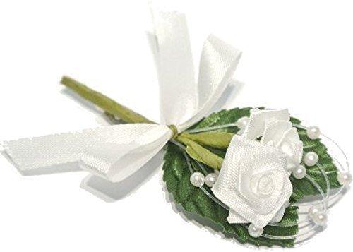 en 12 Stück weiss L=8cm mit Perlen, Schleife und Nadel (Ansteckblume Hochzeit)