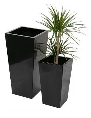 Tall Flared Square Fibreglass Planter - Gel Coat Black -