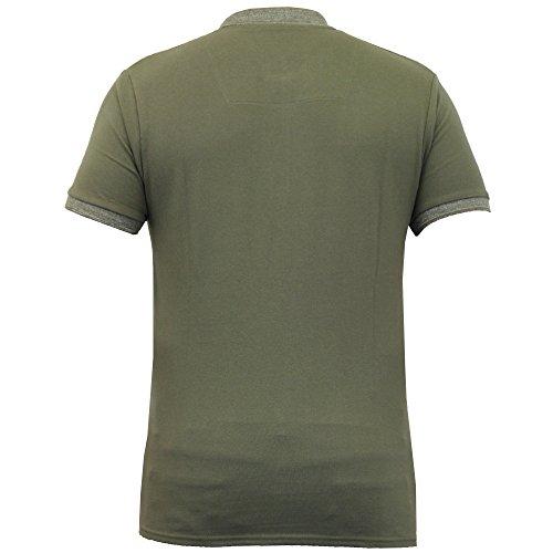 Herren Poloshirt Threadbare Piqué Oberteil Baumwolle Kurz Ärmel Kragen Sommer Neu Khaki - MMW065PKB