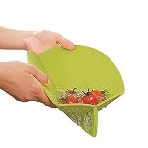 Ambrosya® | Faltbares Schneidebrett mit integriertem Sieb | Antibakteriell Auffangschale Biegsam Dünn Einklappbar Haushalt Klappbar Koch Küche Kunststoff Set | Geschenk Geschenkidee (27 cm, Grün)