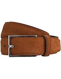 STRELLSON ceinture hommes ceinture en cuir cuir velour marron