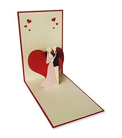 YOKARTA Cartes Pop-Up 3D | Carte de mariage avec enveloppe | Fête de mariage-Invitation | Carte-cadeau Happy Valentines Day | Cartes de voeux d'anniversaire | Merci je t'aime carte | Économisez la date Mariage Papeterie | Motifs divers Kirigami faits à la main 1 pc