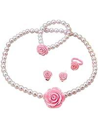 Merssavo Joyería de los Niñas Set Anillo de Imitación de Perlas Flores Collar Pulsera Pendientes Establece (Rosa Perla)
