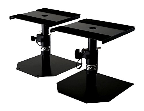 Pronomic SLS-15 Tischstative für Studio Monitore (2 stabile Boxenstative für Studiomonitore, niedrige Ausführung, höhenverstellbar von 18,5 cm bis 27,5 cm, Ablagefläche mit Moosgummistreifen) Schwarz