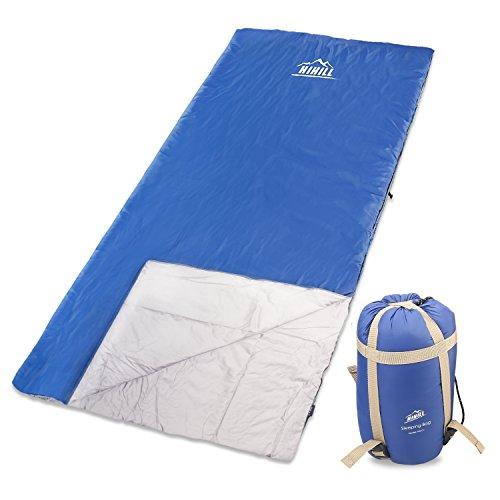 Hihill Saco de dormir Rectangular, Impermeable, Cómodo, Portátil para Camping, Senderismo Viajes,Actividades al aire libre, Azul