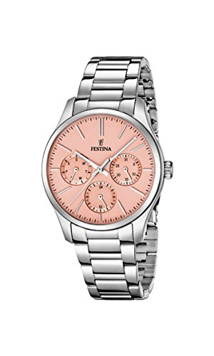 Festina Women's Quartz Watch with Rose Gold Dial Analogue Display and Silver Stainless Steel Bracelet F16813/2