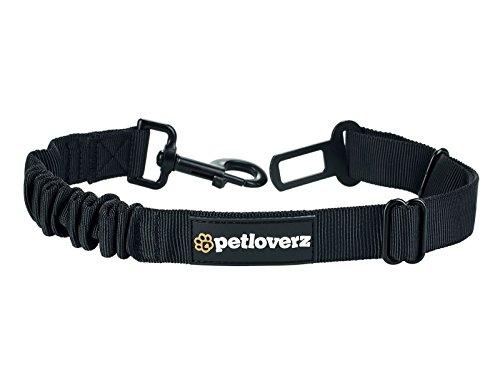 Auto Sicherheitsgurt für Hunde - elastischer Flexi Autogurt Adapter für Hundegeschirr - Verbindungsgurt - Verstellbarer Ruckdämpfer - Sicherheit - Nylon - schwarz - Petloverz