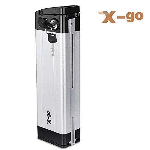 X-go Batteria agli ioni di Litio 24V 10Ah con Alimentatore e Blocco di Sicurezza per Biciclette elettriche Mountain Bike al Litio E-Bike