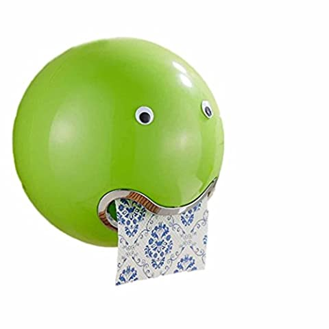 WC-Papierhalter, Frashing Ball Shaped Cute Emoji Toilettenpapierhalter Wasserdicht Toilettenpapier Box Rollenpapier Halter (Grün)
