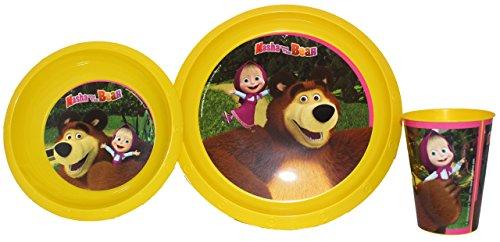Masha e Orso Set Colazione-3pezzi Stoviglie per bambini
