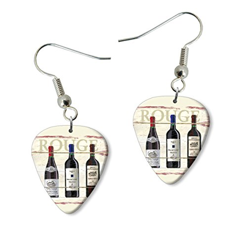 Rouge Wine Martin Wiscombe Púa Para Guitarra Earrings Vintage Retro