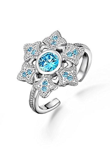 Neoglory Jewellery 925 Silber Ring Frozen Die Eiskönigin Schneeflocke verstellbar (Elsa Bad Kostüm)