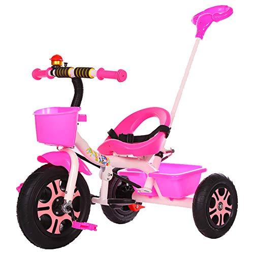 Kinderfahrrad Rahmen aus Kohlenstoffstahl, Frei einstellbar Dreirad Tragen Sie beständig Explosionsgeschützt Leeres Titanrad, Sicher und bequem für Kinder/Kleinkind für 1-5 Jahre alt,Pink,A -