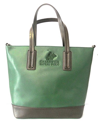 GREENWICH ROYAL POLO - BORSA DONNA IN SAFFIANO COL.VERDONE/MARRONE - art.PG16W-136-02 C